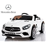 Mercedes Benz SL65 de Babycoches, con licencia oficial, 12 Voltios, asiento polipiel regulable, ruedas caucho, pantalla digital, radio FM, asa transporte, volante multifuncion, llave arranque, control remoto COLOR BLANCO