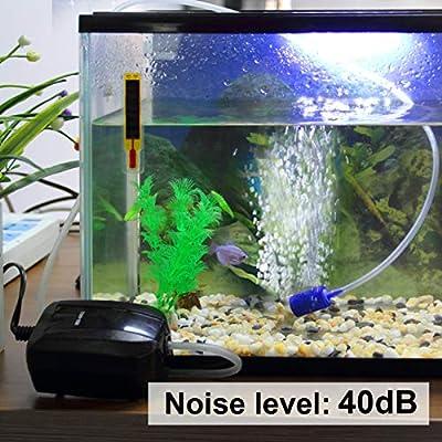 TSSS 40-250L Aquariumpumpe HD-601 Aquarium Wasserpumpen Sauerstoffpumpe Teichpumpe Luftpumpe Durchlüfter +Schlauch+Ausströmerstein Set - Schwarz