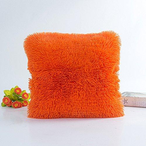 Latex-plüsch (FeiliandaJJ Pillowcase, kissenhülle Kopfkissenbezug Plüsch Volltonfarbe Einfach Kissenbezug Super weich Sofakissen für Wohnzimmer Sofa Bed Home,45x45cm (Orange))