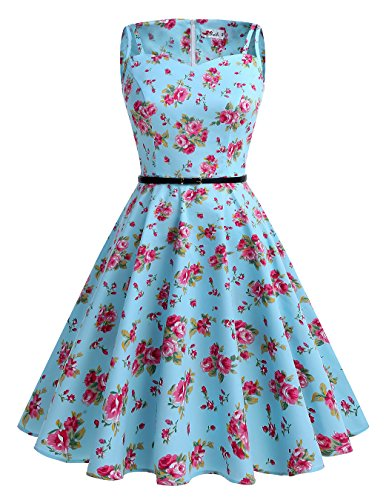 ALAGIRLS 1950er Vintage Rockabilly Einfarbig Party Kleid Retro Muster Cocktailkleid TC1951Red Flower (1950er Schuhe Jahre)