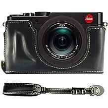 First2savvv XJPT-TYP109-D01S01 negro Funda Cámara cuero de la PU cámara digital bolsa caso cubierta para Leica D-LUX (Typ 109) + Correa de la camara