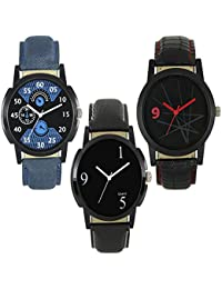 Royal India OverseasNew Stylish And Attractive LM Blue And Black Black Nice Colour Of 3 Combo Watch For Boys And...