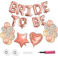 Idea Regalo - FEPITO Bride To Be Balloons Banner Palloncini in Oro Rosa Lettere con Palloncini in Lamina per Forniture di Decorazioni per Feste con Pompa d'Aria