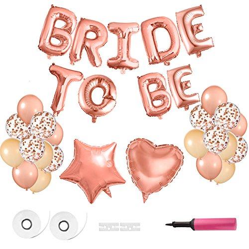 FEPITO Braut zu Ballons Banner Rose Gold Ballons Folie Ballon Buchstaben für Hen Party Dekoration Lieferungen mit Luftpumpe