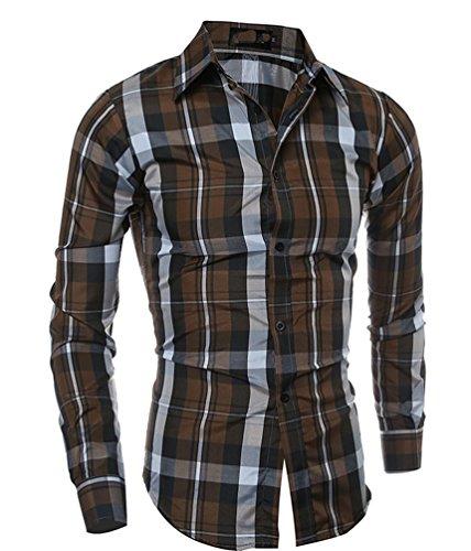 Ghope Homme Chic Chemises habillées de Loisirs du sport Manches Longues Couleurs contrastées Slim Fit Café