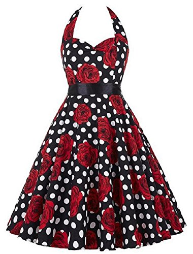 Eudolah Damen Kleider Halter Neckholder Rock Polka Dots 50S Retro Cocktail Dress Schwarz Rose