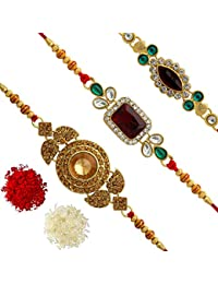 Jaipur Mart Set of 3 Kundan Rakhi Gift for Brother Latest Rakhi Gift (RKH01$P)