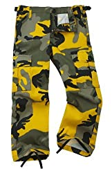 Colourful Camouflage Combat Trousers - Yellow (Age 14-15)