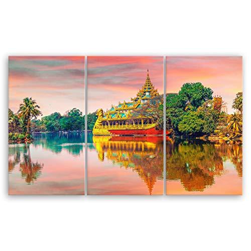 ge Bildet® hochwertiges Leinwandbild XXL - Yangon in Myanmar (Burma) - 165 x 100 cm mehrteilig (3 teilig) Tempel Buddha 3077B