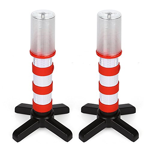 LeaningTech LTC  2 Stück LED Warnblinkleuchte Set mit Reflektor KFZ Warnblitzer Warnsignal Warnleuchte Pannenhilfe mit 3 Modus für Auto erste Hilfe Notfall Rot