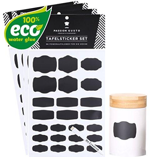 Tafelsticker Küchen-Aufkleber Set Marina - 96 umweltschonende, 3x wiederverwendbare - unbegrenzt neubeschriftbare Power-Aufkleber für die Küche inklusive Stift mit Radierkappe - Mit UMWELTSCHONENDEM Eco-Water-Glue auf natürlicher Wasserbasis - Passion Gusto -
