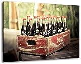 alte Coca Cola Flaschen Format 100x70 cm Bild auf Leinwand, XXL riesige Bilder fertig gerahmt mit Keilrahmen, Kunstdruck auf Wandbild mit Rahmen