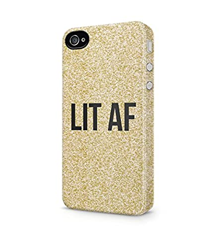 Lit Af Golden Glitter Print Durable Hard Plastic Snap On Phone Case Cover Shell For iPhone 4 / iPhone 4s Coque Housse Etui