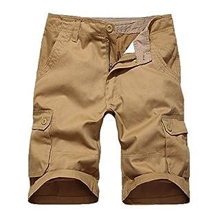Bysun Men's pure cotton Straight short cargo pants (Naturals, UK 20 (Waist:37in))