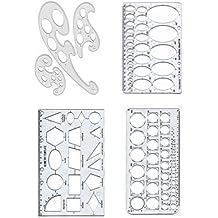4er Set Grafik Kunst Schablone Vorlagen Kreis Ellipse Geometrie & Französisch Kurven