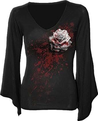 Spiral - Women - WHITE ROSE - V Neck Goth Sleeve Top Black - Small