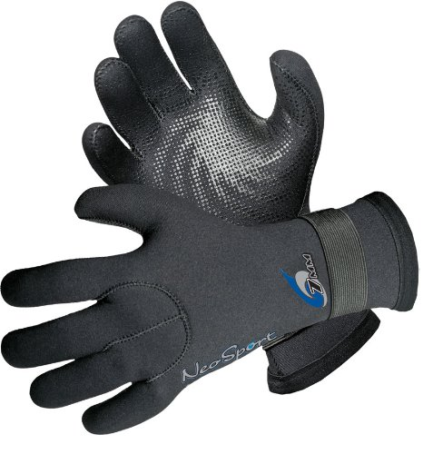 NeoSport Wetsuits Premium Neopren 7mm Fünf Finger Handschuh, damen, schwarz (Finger Neoprenanzug Handschuhe)
