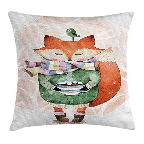 Tier Dekokissen Kissenbezug, niedlichen kleinen Fuchs und Vogel auf seinem Kopf Tee Zeit Kinder Kinderzimmer Freunde Baby Thema, dekorative quadratische Akzent Kissenbezug, 18 X 18 Zoll, grün-orange -
