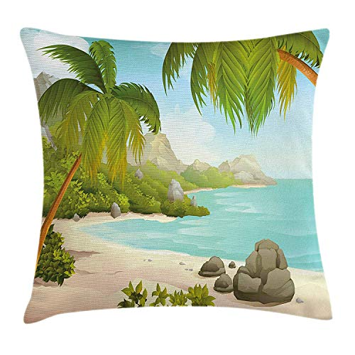 w Cushion Cover, Exotic Beach with Coconut Palm Trees and Rocks Journey Oceanic Coastal Design, Decorative Square Accent Pillow Case, Aqua Green, 18 X 18 Inches ()