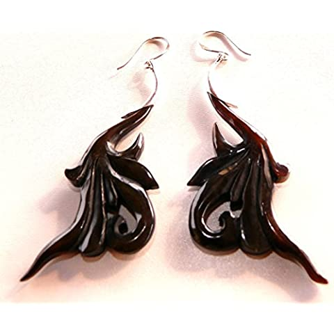 Orecchini in argento 925, in corno etnica Tribal Horn Earrings argento 925