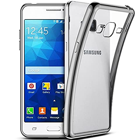 Smartlegend Coque pour SamsungGalaxy Grand Prime ,Galaxy G530 Etui , Samsung Galaxy Grand Prime G530 Soft Shock Absorb Clear Back Panel Flexible Crystal Metal Electroplating Technology Gel TPU Rubber Transparent Back Cover Ultra Thin Shockproof Anti Slip Smartphone Case -Silver - Samsung Galaxy Grand Prime G530
