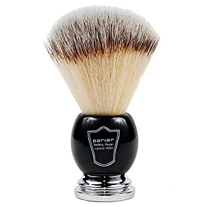 Parker Safety Razor SYNTHETIC Bristle Shaving Brush with Deluxe Black and Chrome Handle & Stand **NEW FOR 2016
