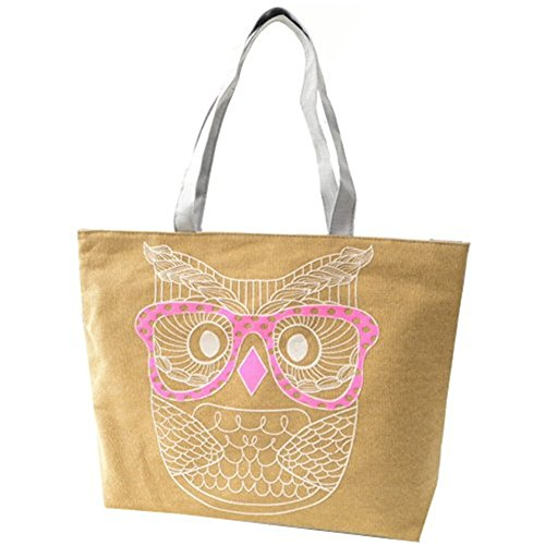 Zrong da donna gufo borsa di tela spalla shopping tote borsa da spiaggia tela borsa, Purple (viola) - ZrongBB148 Yellow