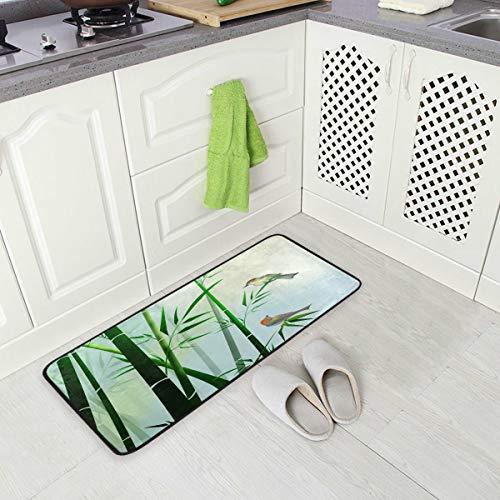 MNSRUU Bambus-Teppich mit Waldvogel-Motiv, Fußmatte für Küche, 50 x 100 cm