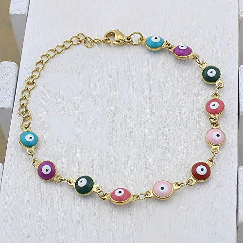 Damenarmband Armbänder Armband,Europäische Böse Augen Der Mode-Persönlichen Eleganten Frauen Bördelten Gold-Farbe Edelstahl-Armbänder Bunte Emaille-Böser Blick-Charme-Kettenhandgelenk-Armbänder