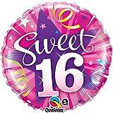 paduTec Heliumballon Zahlenballon Ballon Folienballon - sweet 16 Jahre Alter - Happy Birthday Geburtstag Deko - mit Helium gefüllt