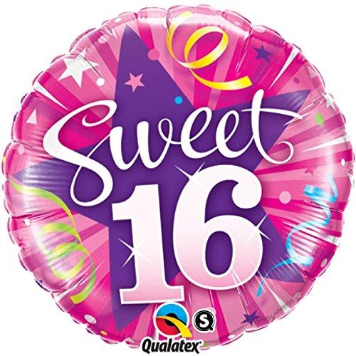 paduTec Heliumballon Zahlenballon Ballon Folienballon - Sweet 16 Jahre Alter - Happy Birthday Geburtstag Deko - mit Helium gefüllt (Sweet 16 Ballons)