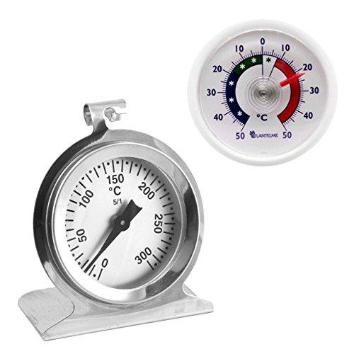 Lantelme Acero inoxidable horno - horno y termómetro de plástico universal. termómetro de horno hasta 300 ° c y termómetro adhesivo +/- 50 ° c analógico y bimetálico