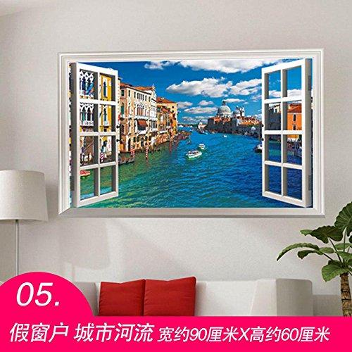 Znzbzt Zimmer Wall Sticker 3D Dreidimensionale selbstklebendes Papier Wandaufklebern, falsche Windows City River, groß