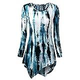 KEERADS Mode Femmes Sexy Chemisier à Manches Longues Pas Cher Dames Impression Blouse T-Shirt Chic Élégant Col O Haut Grande Taille Automn Asymmetry Tops (XL,Bleu foncé)
