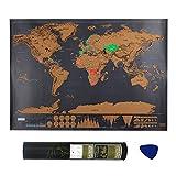 mixigoo Weltkarte zum Rubbeln, Rubbel Weltkarte Landkarte zum Rubbeln Personalisiertes Map Poster Mini Weltkarte Rubbeln Scratch Map Landkarte zum Freirubbeln für Jeden Globetrotter, 42.3 x 30 cm -