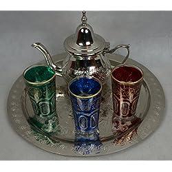 Kenta Juego de te marroquí, 3 Vasos, Míni Tetera metálica + un Bandeja repujada 30cm d dmtr.