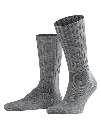 FALKE Herren Nelson luxuriöse Schurwolle Gerippt Einfarbig 1 Paar Business Socken, Blickdicht, dark grey, 43-46