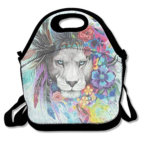 Jacklee Distressed Art Wild Life Lion Handy Portable Zipper Lunch Box Lunch Tote Lunch Tote Bags -