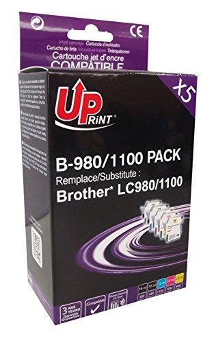 Pack de 5 cartouches compatible BROTHER LC980/1100 - Cyan, Magenta, Jaune, 2 Noir - marque : UPrint B-980/1100 PACK - Imprimantes : DCP-J715W / DCP-145C / DCP-163C / DCP-165C / DCP-167C / DCP-185C / DCP-195C / DCP-365CN / DCP-375CW / DCP-383C / DCP-385C / DCP-387C / DCP-395CN / DCP-585CW / DCP-6690CW / MFC-J270W / MFC-J615W / MFC-J630W / MFC-250C / MFC-255CW / MFC-257CW / MFC-290C / M