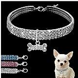 Crystal mascotas collares de perro del correo del perrito del collar de perro del Rhinestone de Bling para la pequeña Chihuahua perros medianos para Mascotas Productos S M