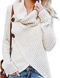 Minetom Damen Strickpullover Sweater Rollkragen Pullover Jumper Strick  Pulli Oversize Herbst Winter Warm Pulli… 43c3b7ed6d
