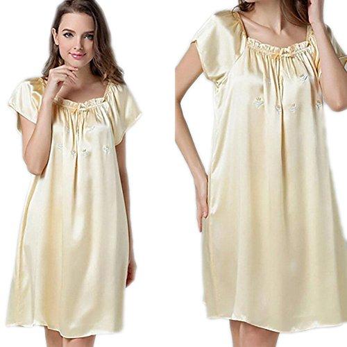 CHUNHUA 100% nuisette de soie lâche Mme pyjama paragraphe survêtement doux , champagne , mean Yellow