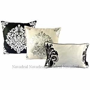 Nava Lot de 3Mordern baroque noir/blanc Motif art floral taies d'oreiller décoratif housses de coussin