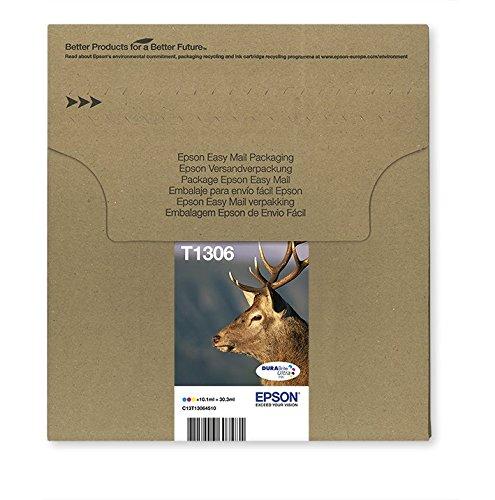 Encre d'origine EPSON Multipack Cerf T1306 : cartouches Cyan, Magenta et Jaune [Emballage « Déballer sans s'énerver par Amazon »]