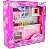 Wishtime Kitchen Playset Pink Color for Kids with Light and Accessories