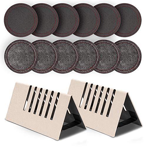 Ventvinal 12 Stück Leder Filz Untersetzer mit 2 Stück Untersetzer Halter, Rund Dekorative Glasntersetzer Set für Glas, Tassen, Tisch, Bar