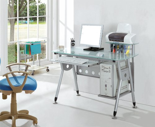 For Sale SixBros CT-3783/40 Computer Desk Frame Silver/Grey / Desk Top Clear Glass on Line