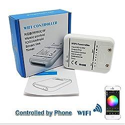 DC12V-24V RGB LED Wifi Controller, LED Streifen RGB/RGBW / RGBWW 16 Millionen Farben Musik und Timer-Modus Wifi Fernbedienung von IOS/Android Smartphone