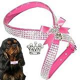 XS Pink Chihuahua Hunde Strass Geschirr Hundegeschirr Softgeschirr