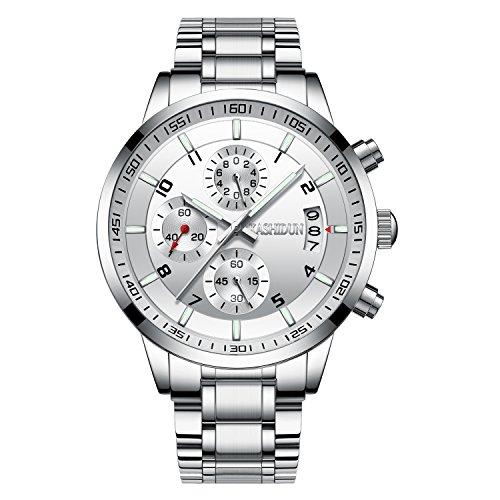 KASHIDUN Herrenuhren Edelstahl Schwarz Klassische Business Casual Uhren mit Mondphase Wasserdichte Multifunktions Quarz Armbanduhr für Herren (A-Black6)